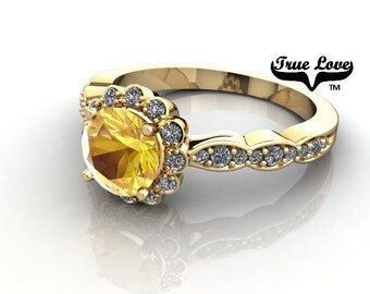 14 kt. Yellow Gold Round Yellow .61 carat  diamond cut Sapphire with .27carat tw Halo & Side Moissanites   Engagement Ring. #6700