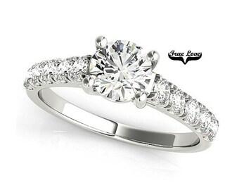 1.50  Carat Moissanite Engagement Ring 14kt White Gold, Trek Quality #1, Wedding Ring, Side Moissanites #7339