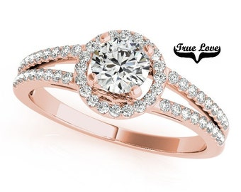 Halo Engagement Ring 14kt Rose Gold,1 Carat Trek Quality #1 D-E Color  VVS clarity Round Brilliant Cut Moissanite Wedding Ring  #7262