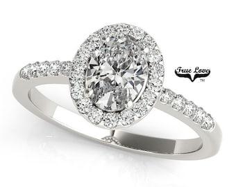 Moissanite Engagement Ring 14kt White Gold,, Trek Quality #1, Wedding Ring, Oval Engagement, Oval Halo  #7577