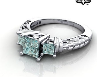 Princess Cut 14 kt. White Gold  Three Stone .38 Carat and Two .12  Teal Blue Diamond Engagement Ring. #6713
