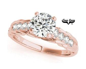 1 Carat Moissanite Engagement Ring 14kt Rose Gold, Trek Quality #1, Wedding Ring,Round Engagement,Side Moissanites #7317
