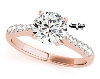 Moissanite Engagement Ring 14kt Rose Gold, Trek Quality #1, Wedding Ring, Side moissanites #7408