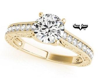 Moissanite Engagement Ring 14kt Yellow Gold, Wedding Ring, Halo Engagement, Side Moissanites #7464