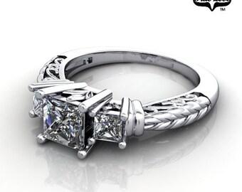 Princess CutMoissanite Princess  Engagement Ring 14kt White Gold, Trek Quality #1, Wedding Ring, Three Stone Ring #6709