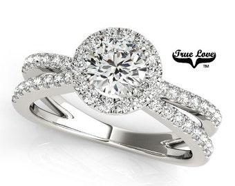 Moissanite Engagement Ring ,Trek Quality #1 D-E Color  VVS Clarity,one Carat Center Halo and side Stones 14kt White Gold Split Shank #7236