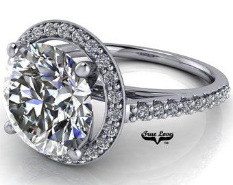 Round Brilliant Cut Moissanite Engagement Ring Trek Quality #1 D-E or G-H Color VVS Clarity set in 14kt White Gold  #7123