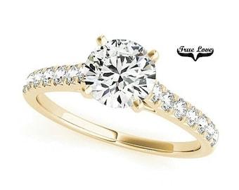 Moissanite Engagement Ring 14kt Yellow Gold, Trek Quality #1, Wedding Ring, Side Moissanites #7337