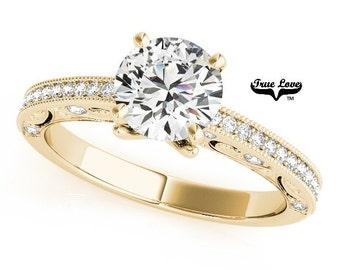 Moissanite Engagement Ring 14kt Yellow Gold, Wedding Ring, Side & Decorative Moissanites #7524