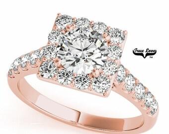 Rose Gold  Trek Quality #1 Moissanite Engagement Ring 14kt Rose Gold, Wedding Ring, Square Halo, Side Moissanites #7228