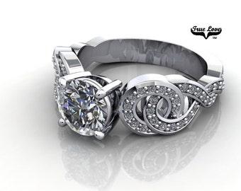 Moissanite Engagement Ring 14kt White Gold, Trek Quality #1, Wedding Ring,  Side Moissanites #7068