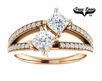 NEW! Two Stone 14  kt. Rose Gold  4 mm .86 Carat Total weight Princess Cut Trek Quality #1 Moissanite Engagement Ring #7768