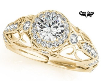 Moissanite Engagement Ring 14kt Yellow Gold #6865