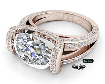 Moissanite Trek Quality #1 D-E Colorless or G-H near Colorless VVS Clarity True Love Eng. Ring 14 kt Rose Gold.#6836