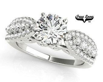 1 Carat Moissanite Engagement Ring 14kt White Gold, Trek Quality #1, Wedding Ring, Side Diamonds #7668
