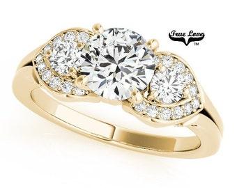 Moissanite Engagement Ring 14kt Yellow Gold, Wedding Ring, Three Stone Ring, Past Present Future, Trinity #7485