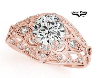 Moissanite Engagement Ring 14kt Rose Gold, Trek Quality #1, Wedding Ring, Decorative, Side Moissanites, Decorative #7320