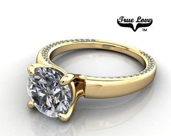 2 Carat Moissanite Engagement Ring 14kt Yellow Gold, Trek Quality #1, Wedding Ring, Decorative moissanites #6703