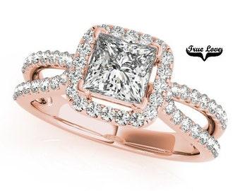 Halo Engagement Ring 14kt Rose Gold, Trek Quality #1 D-E Color  VVS clarity Princess Cut 1.05 Carat Moissanite Wedding Ring #7265