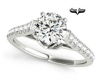 1 Carat Moissanite Engagement Ring 14 kt White Gold,Trek Quality #1. VVS Clarity D-E-Fand GH color, Wedding Ring, Side Moissanites  #7342