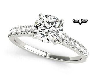 Moissanite Engagement Ring 14kt White Gold, Trek Quality #1, Wedding Ring, Side Moissanites #7336