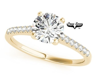 Moissanite Trek Quality #1 Engagement Ring 14kt Yellow Gold #7401