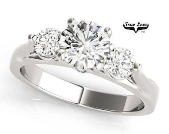 Moissanite Engagement Ring 14kt White Gold, Trek Quality #1 D-E-F Wedding Ring, Three Stone Ring, Trinity, Past Present Future #7496CC