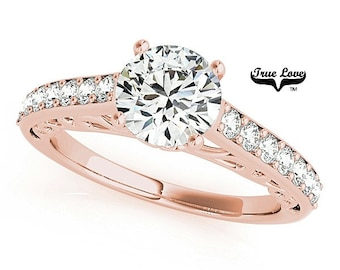 Moissanite Engagement Ring 14kt Rose Gold, Trek Quality #1, Wedding Ring, Side moissanites #7399