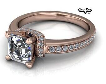 Moissanite Engagement Ring 14kt Rose Gold, Trek Quality #1, Wedding Ring, Side Moissanites #6890