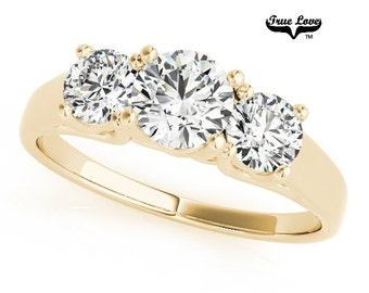 2 Carat  Moissanite Trek Quality #1 D-E Color  VVS Clarity. Brand: True Love Past Present Future  Engagement Ring 14kt Yellow Gold #7569