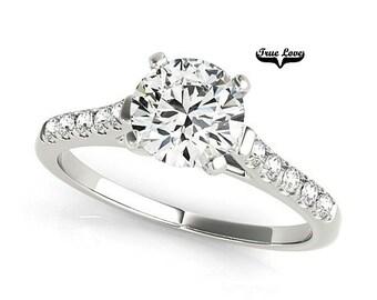 Moissanite Engagement Ring 14kt White Gold, Trek Quality #1, Wedding Ring, Side Moissanites #7348