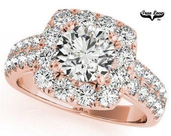 Moissanite Engagement Ring 14kt Rose Gold, Trek Quality #1, Wedding Ring, Square Halo, Double Row Side Moissanites #7165