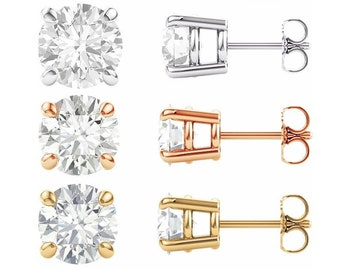 Moissanite Earrings .5 Carat to 4  CaratTotal Weight  Trek Quality #1 D-E Colorless or GH Near Colorless VVSClarity  14 kt Gold #8350