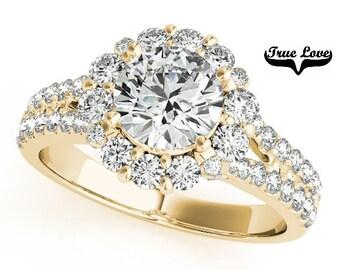 Moissanite Engagement Ring 14kt Yellow Gold,Trek Quality #1 D-E Color  VVs Clarity,Wedding Ring,Round Halo, Split Shank,Side Diamonds #7282