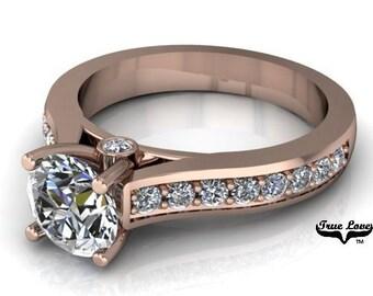 1 Carat MoissaniteTrek Quality #1  D-E Color VVSClarity , Side Moissanites  Brand: True love Engagement Ring 14kt Rose Gold.  #6923