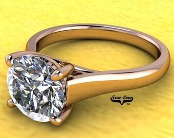 Moissanite Engagement Ring 14 kt Rose Gold #7004