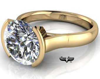 Moissanite Solitare Engagement Ring Trek Quality Number One D-E or G-H Color VVS Clarity in 14 kt Yellow gold. #7010