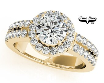 Moissanite Engagement Ring ,Trek Quality #1 D-E Color  VVS Clarity,one Carat Center Halo and side Stones 14kt Yellow Gold Split Shank #7234