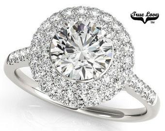 Moissanite Engagement Ring 14kt White Gold, Trek Quality #1, Wedding Ring, Halo Engagement, Side Moissanites #7206