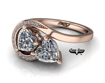 Two Stone 14 kt. Rose Gold 6 mm 1.60 Carat Total weight Heart Shape Trek Quality #1 D-E Color  VVS Clarity Moissanite Engagement Ring #7765