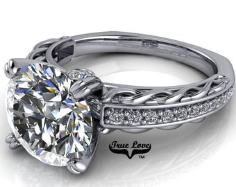 Moissanite 1.5 , 2 or 3 Carat D-E Colorless or G-H near colorless Trek Quality #1 Engagement Ring Platinum. #6716P