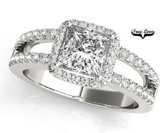 5.3 Carat Princess Cut MoissaniteTrek #1 D-E Color  VVS Clarity   With .60 Carat MoissanitesBrand True Love 14 kt. White Gold Halo #7303
