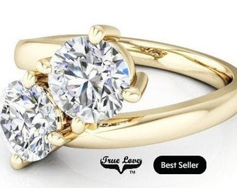 NEW! Two Stone 14  kt. Yellow Gold  6.5 mm 2 CaratTotal Weight Round Trek Quality #1 Moissanite Engagement Ring #7753