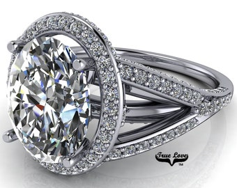 Halo Moissanite Engagement Ring Oval Cut Trek Quality #1 D-E Color VVS Clarity 14 kt White Gold   #7141