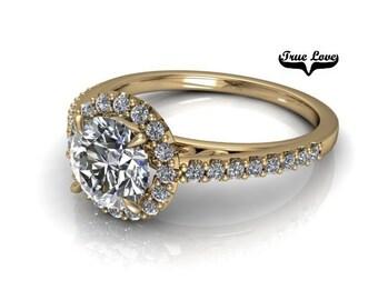 Moissanite Engagement Ring 14kt Yellow Gold #7880