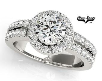 Moissanite Engagement Ring ,Trek Quality #1 D-E Color  VVS Clarity,one Carat Center Halo and side Stones 14kt White Gold Split Shank  #7233