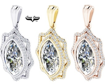 Moissanite Pendant D-E Colorless VVS clarity 16 x 8 mm 4 Carat Marquise, Double Halo  14 kt gold.#5402