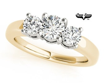 Moissanite Engagement Ring 14kt Yellow Gold, Wedding Ring, Three Stone Ring, Trinity, Past Present Future #7557