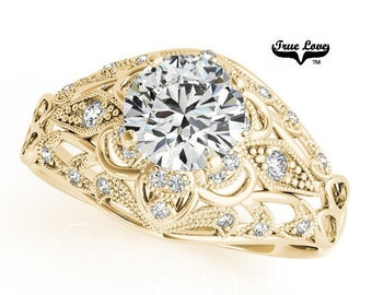 Moissanite Engagement Ring 14kt Yellow Gold, Wedding Ring, Side Moissanites, Decorative   #7319