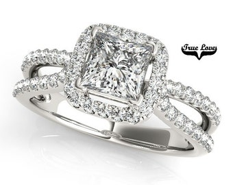 Princess Cut Halo  1  Carat or 1.5 Carat Center Moissanite Engagement Ring Platinum  Split Shank .40 Carat side Diamonds  #7263P